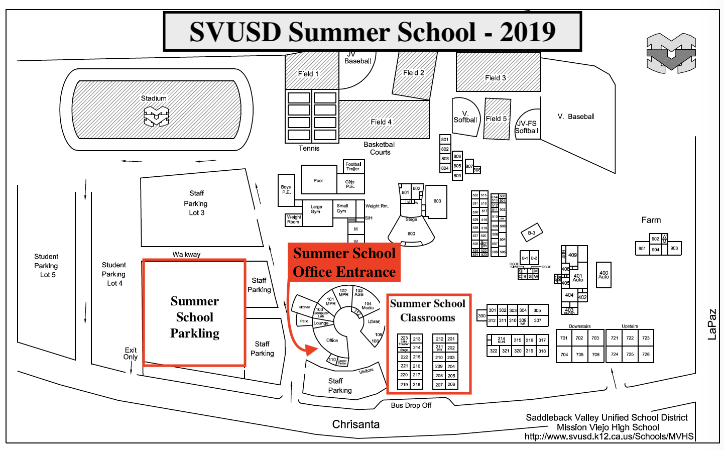 SVUSD Summer School Map - 2019