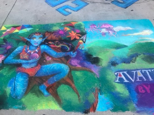 chalk drawing of movie Avatar