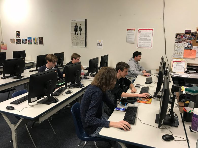 MVHS e-sports club competing at computers