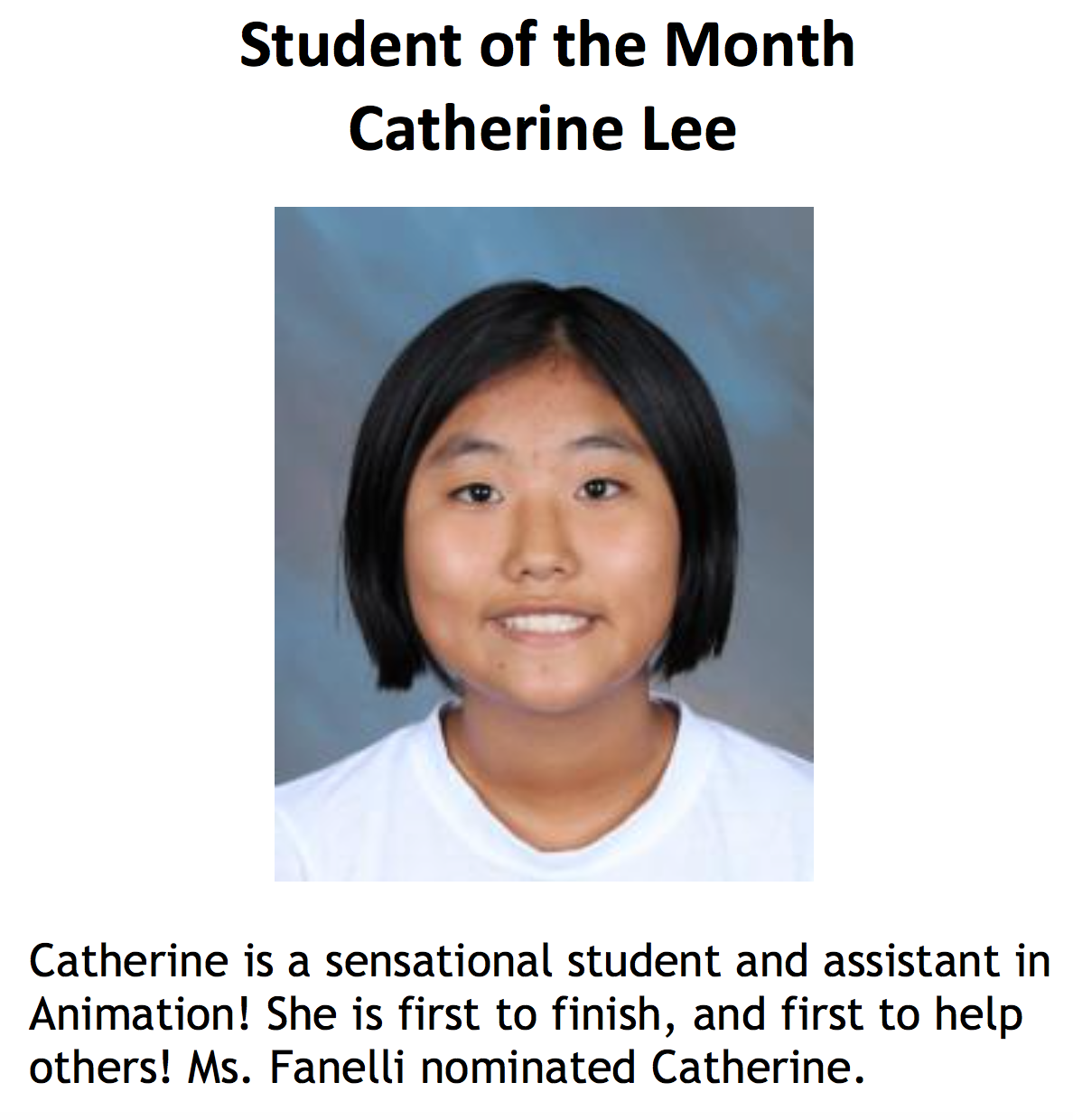 Student of the Month Catherine Lee