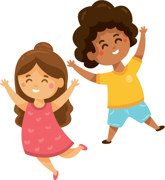Cartoon of children excited and happy