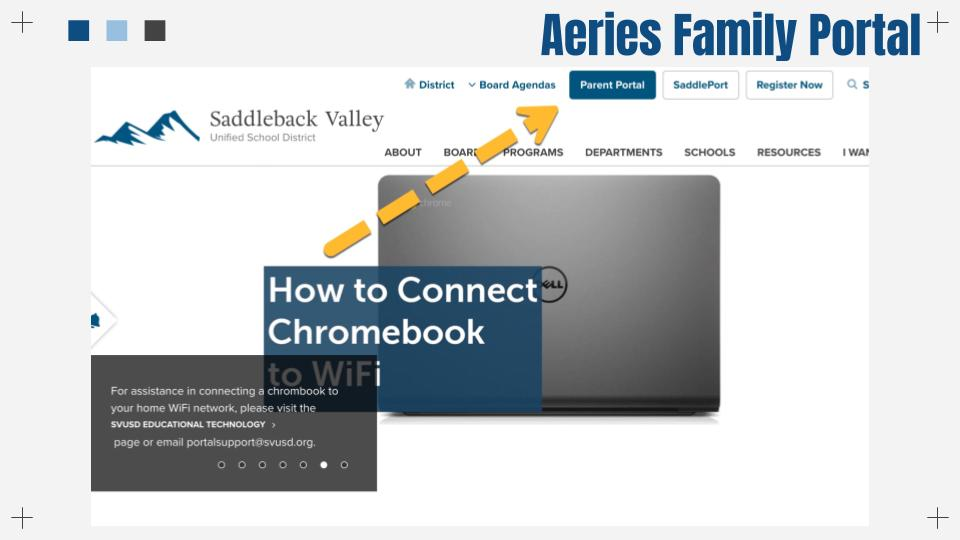 SVUSD Website with arrow pointing to Family Portal tab in the top right corner