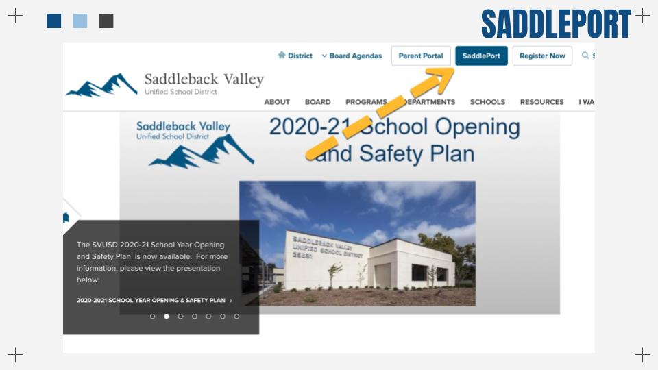 SVUSD Website with arrow pointing to Saddleport tab at the top right